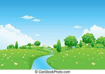 Grüner Landscape mit Flussbäumen und Blumen