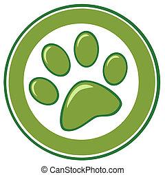 Grüner Pfotenabdruck