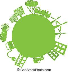 Grüner Planet, einfaches Logo