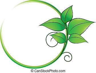 Grüner Rahmen mit frischen Blättern