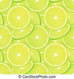 Grüner saftiger Kalkschnitt Vektor nahtlos Muster.