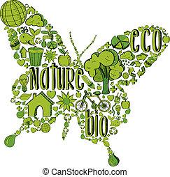 Grüner Schmetterling mit Umweltzeichen