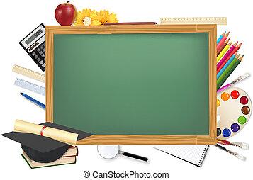 Grüner Schreibtisch mit Schulmaterial