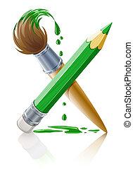 Grüner Stift und Pinsel mit Farbe