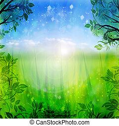 Grüner und blauer Frühlings Hintergrund