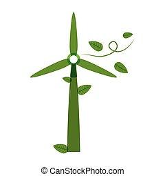 Grüner Windenergiegenerator mit Blättern.