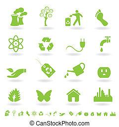 Grünes Öko-Ikonenset