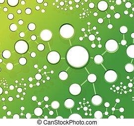 Grünes Atom verbindet die Veranschaulichung des Netzwerks.