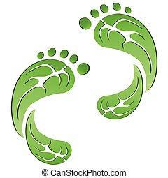 Grünes Blatt CO2-Öko-Fußabdrücke.