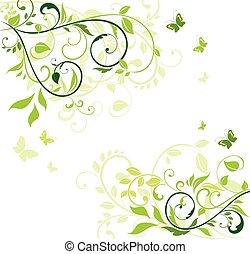 Grünes Blumenbanner.
