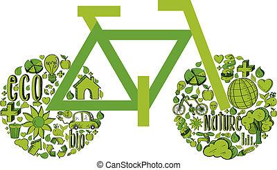 Grünes Fahrrad mit Umweltzeichen