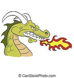 Grünes Feuer, der Drache atmet.
