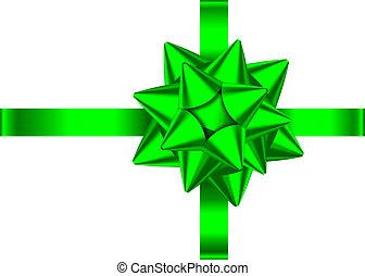 Grünes Geschenkband und Bogen für Banner, Grußkarte.