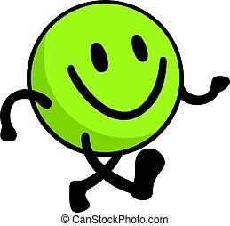 Grünes, glückliches Gesicht.