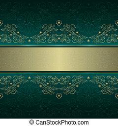 Grünes goldfarbenes, sonniges Muster