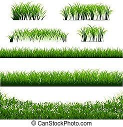 Grünes Gras grenzt an großes Set.