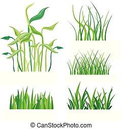 Grünes Gras, isoliert auf weißer Vektorgrafik.
