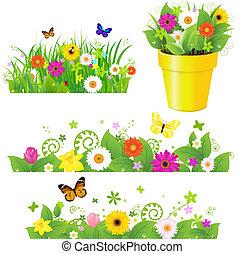 Grünes Gras mit Blumen.