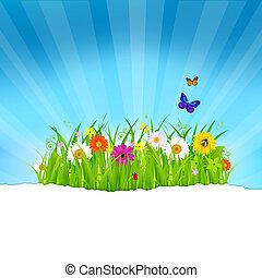 Grünes Gras mit Blumen und Papier