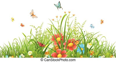 Grünes Gras und Blumen.