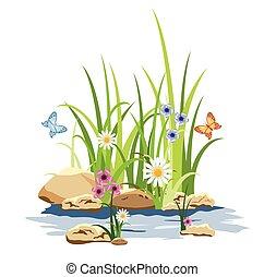 Grünes Gras und Blumen im Stein.