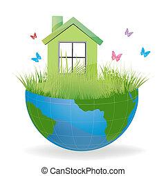 Grünes Haus auf halber Erde