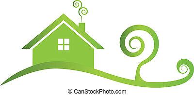 Grünes Haus, wirbeliges Logo