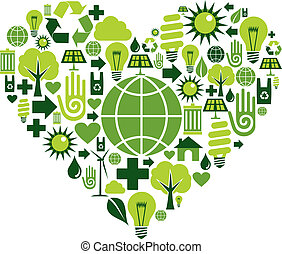 Grünes Herz mit Umweltzeichen