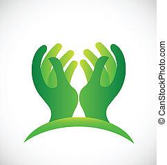 Grünes, hoffnungsvolles Handzeichen.