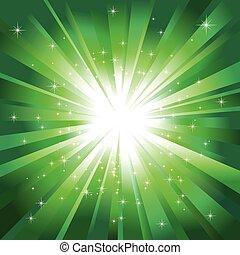 Grünes Licht zerplatzte vor funkelnden Sternen