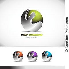 Grünes Metallkugel Logo.