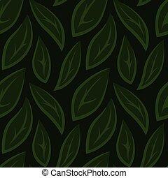 Grünes, nahtloses Blumenmuster mit stilisierten Blättern.