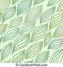 Grünes, nahtloses Muster mit stilisierten Blättern.