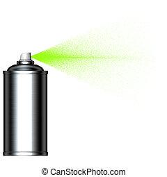 Grünes Nebelspray kann von der Seite gesehen werden.