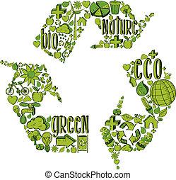 Grünes Recycling-Symbol mit Umweltzeichen