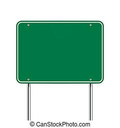 Grünes Schild.