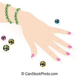 Grünes Smaragdarmband auf Frauenhand, Vektor