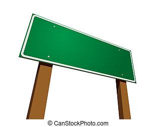 Grünes Straßenschild auf weiß