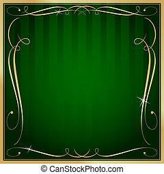 Grünes und goldfarbenes Quadrat gestreiftes ornate Vektorhintergrund.