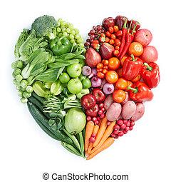 Grünes und rotes gesundes Essen