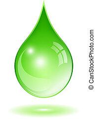 Grünes Wassertropfen.
