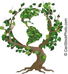 Grünes Weltbaumvektorbild