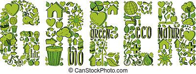 Grünes Wort mit Umweltzeichen
