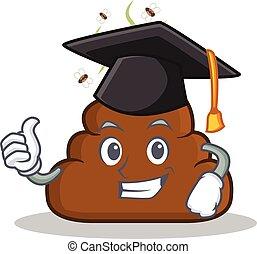 Graduation kacken Emoticon Charakter Cartoon.