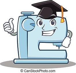 Graduation Nähmaschine emoticon Charakter.