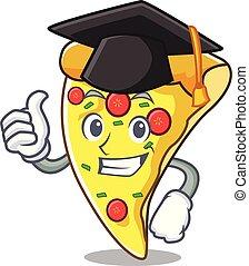 Graduation Pizza Stück Charakter Cartoon.