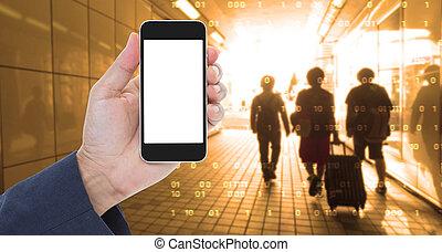 grafik, halten mobile, schirm, digital, hand, leer, telefon, hintergrund, verwischen