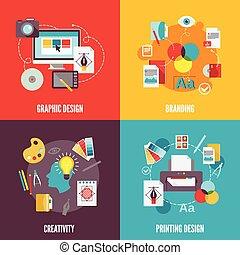 Grafikdesign Icons flach.