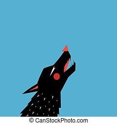 Graphisch mit Silhouette Portrait eines schwarzen Wolfs.
