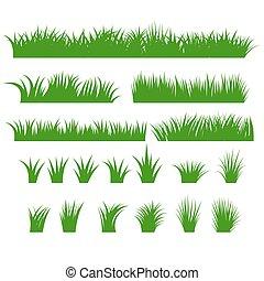 Gras grenzen eingestellt, grüne Tücher
